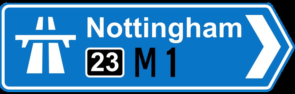 nottingham motorway sign